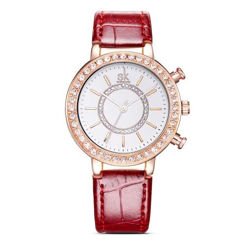 Buy SK Fashion Luxury Diamond Water-Resistant Quartz Women Watches Analog PU Leather Strap Ladies Casual Wristwatch Rose Gold Case