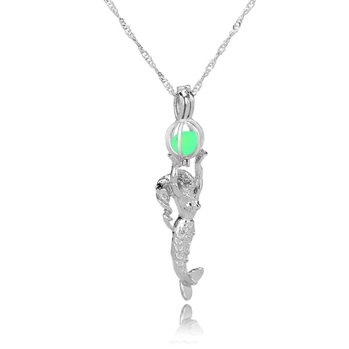 Buy Fashion Retro Moon Glowing Hollow Necklace Turquoise Mermaid Pendant Charm Jewelry Gift