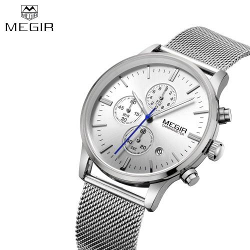 MEGIR High-end Steel Mesh Watchband Business Man Wristwatch Excellent Quartz Watch With Calendar and Sub-dial