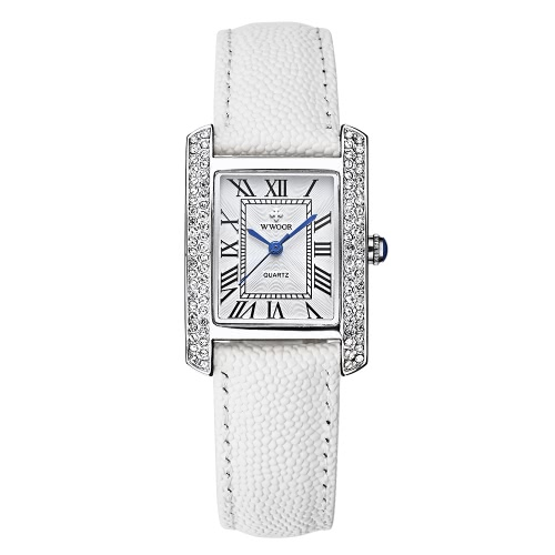 Buy WWOOR 2016 Fashion Brand Luxury Women Watches Diamond Rhinestone Genuine Leather Strap Quartz Ladies Casual Wristwatch 30M Water-Proof Watch + Storage Box