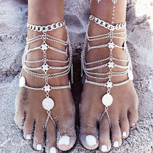 Buy Retro Vintage Punk Antique Silver Gold Hollow Lady Anklet Bracelet Fashion Tassels Barefoot Anklets Foot Jewelry Chain Gift Beach Metal Alloy