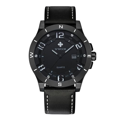 Buy WWOOR Fashion Luminous Sports Style Quartz Analog Mens Watches Genuine Leather Calendar 30M Water-Proof Man Casual Wristwatch + Watch Box