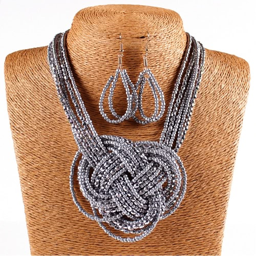 Buy Fashion Bohemian African Style Seed Beads Knot Necklace Thick Chain Earrings Jewelry
