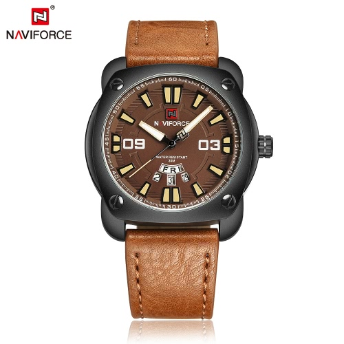 NAVIFORCE Man Fashion Casual Sports Wristwatch Watch 3ATM Water Resistant PU Leather Strap Man Quartz Wristwatch with Calendar Function