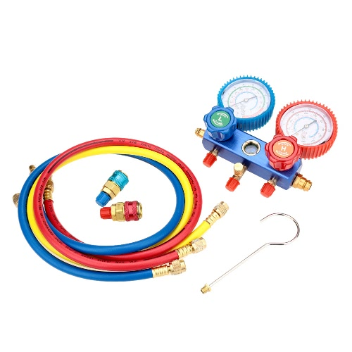 A/C Manifold Gauge Set R-134a Auto Air Conditioner with Colored Hose Coupler