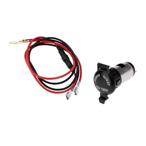 KKmoon 240W Motorcycle Car Cigarette Lighter Splitter Power Socket Adapter 12-24V 60CM Wire