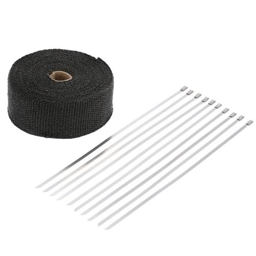 Buy 15m Exhaust Heat Wrap Turbo Pipe Insulated 10 30cm Cable Ties Car Motorcycle