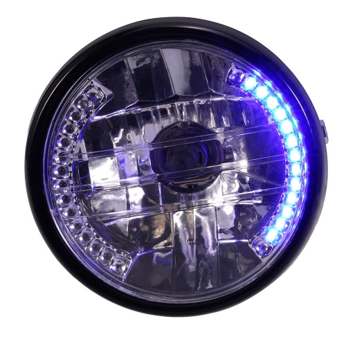 "7"" Motorcycle Headlight Round LED Turn Signal Indicators Blue Light Universal"