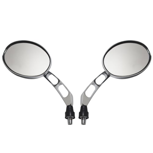 Buy 1 Pair Universal Motorcycle Scooter Aluminum Alloy Oval Shape Electroplate Rotatable Rearview Side Mirror Modified Accessories Harley Street Cars Scooters