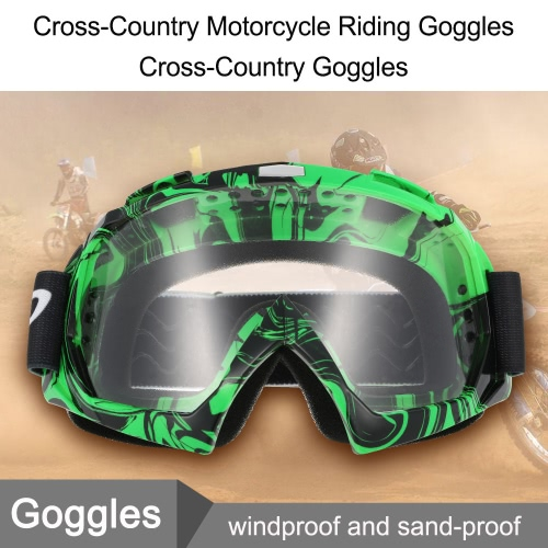 Buy Cross-Country Motorcycle Riding Goggles Game True Semi-Permeable Membrane Cycling Glasses Green transparent lenses