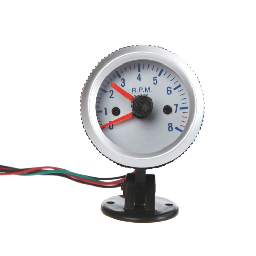 """Tachometer Tach Gauge with Holder Cup for Auto Car 2"""" 52mm 0~8000RPM Blue Light"""