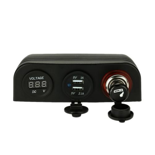 LED Voltmeter Meter + Dual USB 5V/2.1A 5V/1A socket + Mental Cigarette Lighter Power Socket Cigarette Lighter + 3 Hole Tent Base Car Truck Motorcycle Boat ATV