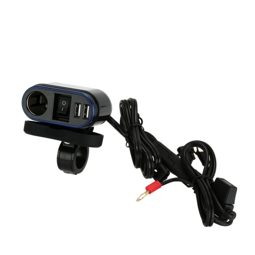 WUPP Car Motorcycle Cigarette Lighter Socket Dual USB Port Telescope Shape Charger Power Adapter LED Indicator
