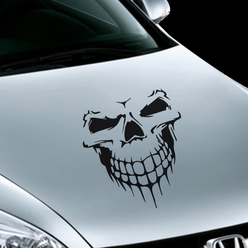 Buy Novel Scary Cool Skull Skeleton Pattern Car Engine Cover Waterproof Sticker Outdoor Window Reflective Sheeting 3D Windshield Decal Rear Styling Auto Vehicle Exterior Decoration Accessories