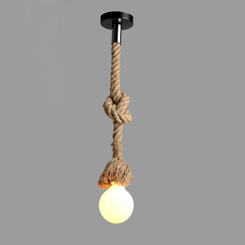 Buy Lixada 200cm AC220V E27 Single Head Vintage Hemp Rope Hanging Pendant Ceiling Light Lamp Industrial Retro Country Style Dining Hall Restaurant Bar Cafe Lighting Use