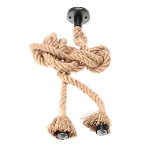 Buy Lixada 600cm AC110V E26/E27 Double Head Vintage Hemp Rope Hanging Pendant Ceiling Light Lamp Industrial Retro Country Style Dining Hall Restaurant Bar Cafe Lighting Use