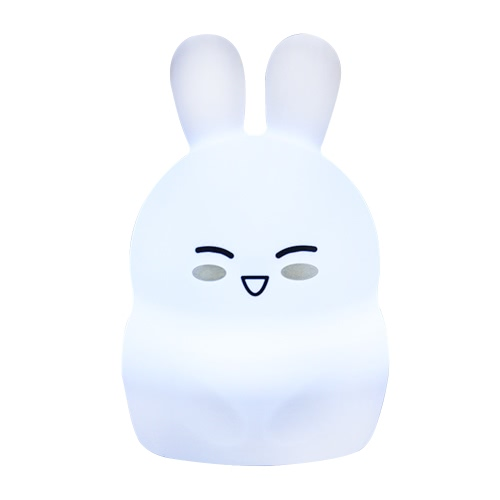 1.6W 8 LEDs Creative Cute Rabbit Night Light USB Rechargeable Soft Silicone Cartoon Lamp 2 Control Patterns 5 Lighting Modes Touch Sensor Battery Included Portable Colorful Light for Baby Nursery Children Toy Bedside Lamp Luminaria Gift Bedroom Festival