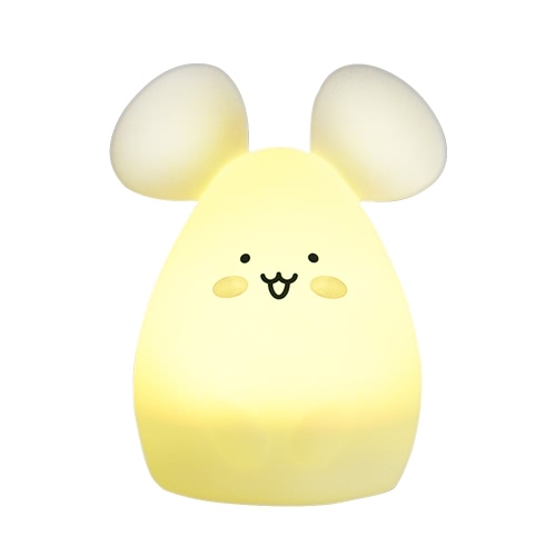 1.6W 8 LEDs Creative Cute Mouse Night Light USB Rechargeable Soft Silicone Cartoon Lamp 2 Control Patterns 5 Lighting Modes Touch Sensor Battery Included Portable Colorful Light for Baby Nursery Children Toy Bedside Lamp Luminaria Gift Bedroom Festival