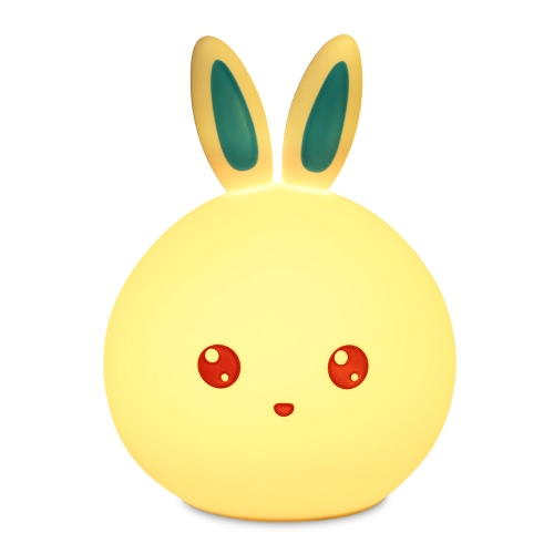 8 LEDs 3 Modes 7 Color Changing Rabbit Soft Silicone Night Lamp USB Rechargeable Pat Sensor Bedside Light for Baby Nursery Children Toy Gift Bedroom