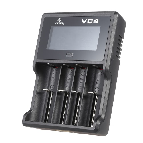 Buy XTAR VC4 LCD Intelligent Digital Multifunctional USB 4 Slots Channels Current Selectable 3.6V/3.7V Lithium Li-ion 1.2V Ni-MH/Ni-CD Battery Charger Rechargeable 32650 26650 18700 18650 18500 16340 14500 10440 AAAA AAA AA SC C D