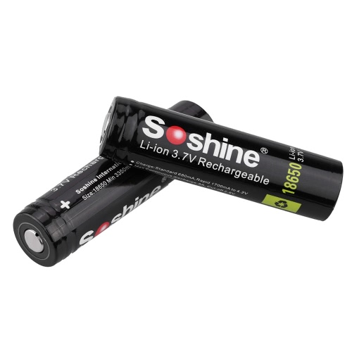 Buy Soshine 18650 3.7V 3400mAh Rechargeable Li-ion Lithium Battery PCB Protected Board LED Flashlight Torch Light