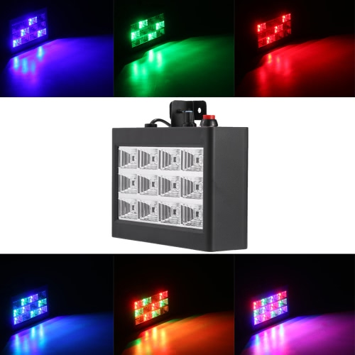 Buy AC110-240V 12 LEDs 9W Strobe Stage Effect Light RGB Flash Party Lighting Sound Activated Auto Run Club Disco DJ Bar