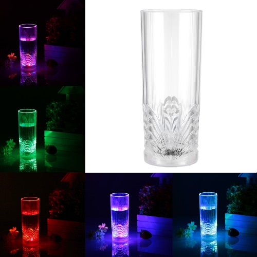 270ml LED Light Up Glass Glowing Flashing Liquid Sensing Multicolor Plastic Tumbler Wine Mug Cup Beer Whisky Drinkware Pub Party Use Large Size