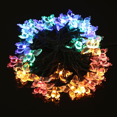 Buy 6.5m 30-LED Decorative Solar String Colorful Fairy Light Lamp Butterfly Style Water Resistant Outdoor Garden Christmas Party Wedding