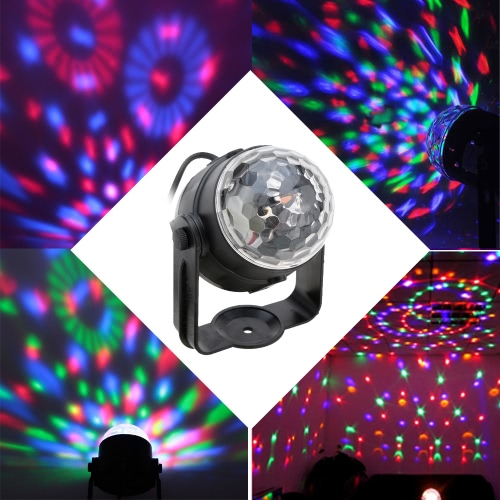 Buy Auto Sound Activated 3W RGB LED Mini Crystal Magic Rotating Ball Effect Stage Lights KTV Xmas Party Wedding Show Club Pub Disco DJ