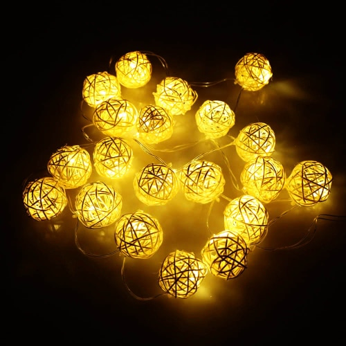 Buy 2.1M 20 LED Garland Rattan Vine Ball Globe Lamp Fairy String Lights Party Wedding Christmas Home Decor Warm White