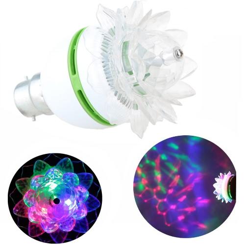 B22 3W LED RGB Stage Lamp Light Bulb Crystal Lotus-like Auto Rotating Party Disco Bar