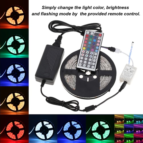 Lixada LED Strip Light Kit 5M/16.4FT 300LEDs SMD5050 RGB 1000LM/M Strip DC12V Power Adapter 44 Key IR Remote Control Color Changing Flashing Flexible Water-resistant IP65 Bedroom Living Room Kitchen Use