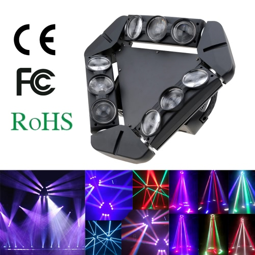 Buy 140W DMX512 Sound Control Auto Rotating 1/12/14/18/50 Channels Color Changing Beam Triangle LED Stage Light Gobo Pattern Lamp Disco KTV Club Party