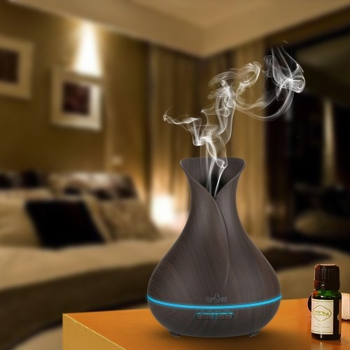 Tomshine Ultrasonic Aroma Essential Oil Diffuser 400ML Mist Air Humidifier Wood Grain BPA Free Aromatherapy Dimmable Night Lamp with 7 Colors Changing Light 4 Time Setting Auto Shut-off for Home Office Study Bedroom Spa Yoga