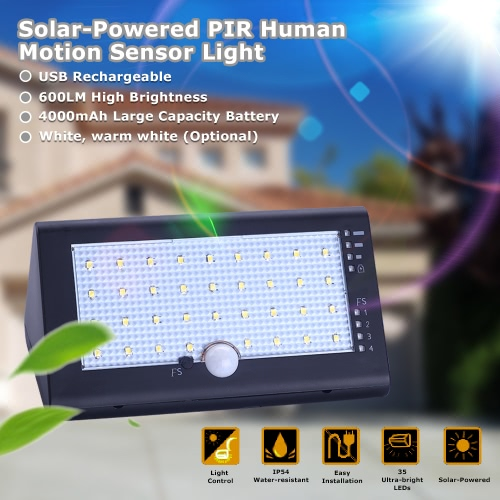 Buy Solar Powered Rechargeable 35 LEDs 6W 600LM IP54 Lamp Light Control PIR Human Motion Sensor 4 Lighting Modes USB Cable Self-adhesive Tape Wall Mounting Hanging Garden Door Entrance Fence Pathways