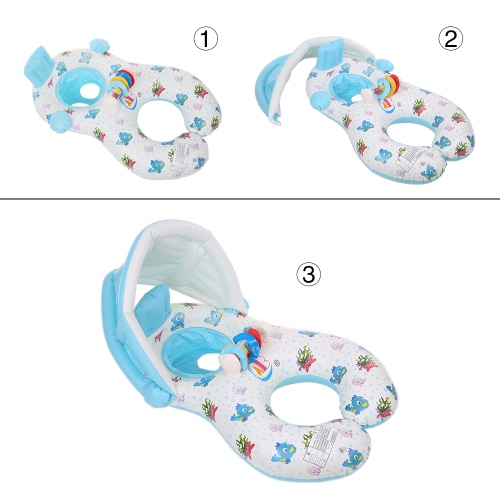 Inflatable Soft Mommy & Baby Swimming Ring Pool Float Boat Rider with Detachable Sun Canopy Shade for Baby Toddler Kid Light Blue от Tomtop.com INT