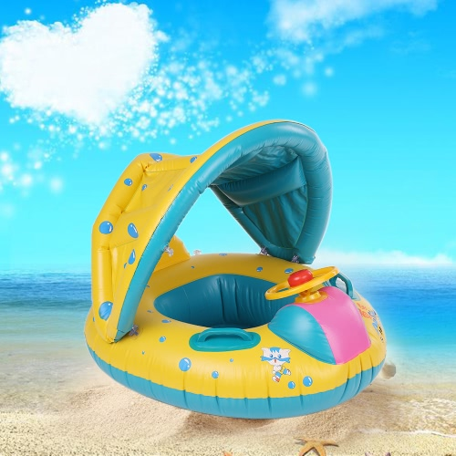 Inflatable Soft Baby Swimming Ring Pool Float Boat Rider with Detachable Sun Canopy Shade for Baby Toddler Kid Blue-Yellow от Tomtop.com INT