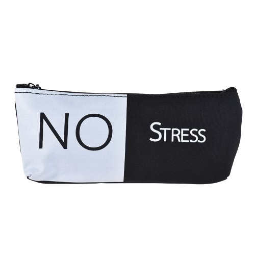 Buy Simple Black&White Canvas Pencil Bag Case Zippered Large Capacity School Stationery Office Supplies Gift Students