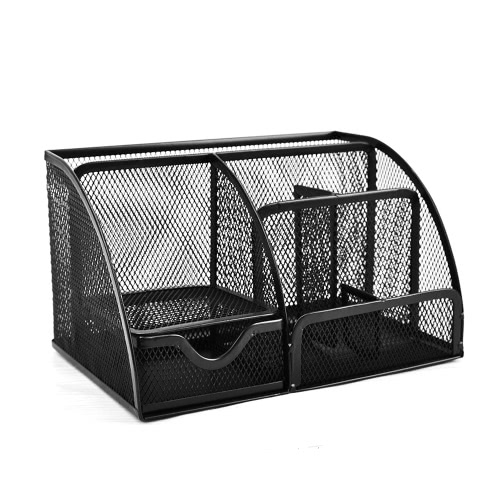 Buy 7 Storage Compartments Multi-functional Mesh Desk Organizer Pen Holder Stationery Container Box Collection Office School Supplies Caddy Business Card Pencil Note Stapler Scissors Mobile Phone Metal Black