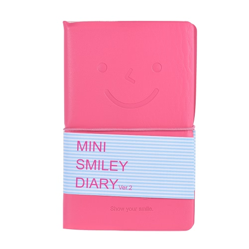 Buy 96 Sheets Mini Portable Notebook Notepad Doodle Scribble Dairy Daily Memos Planner Stationery Office Supply PU Smile Smiley Cover (8 Colors, Random Delivery)