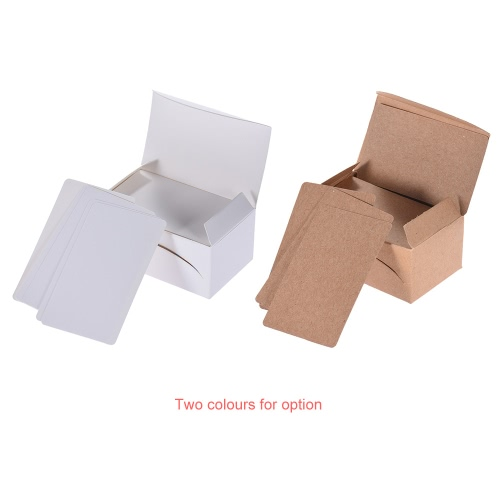 100pcs/box Kraft Paper Message Card Word Business Thank You Cards Blank for Memo Wedding Party Greeting