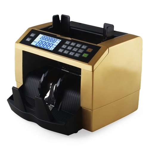 Buy LCD Display Automatic Multi-Currency Cash Banknote Money Bill Counter Counting Machine UV MG Counterfeit Detector External Panel EURO US Dollar AUD Pound