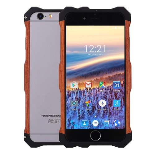 Buy R-JUST Wooden Phone Case Protective Back Cover Shell + Metal Frame 4.7 Inches iPhone 6 6S Eco-friendly Material Stylish Portable Ultrathin Anti-scratch Anti-dust Durable