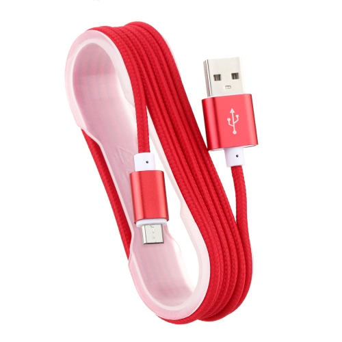 Nylon Braided Round USB Cable Strong Fabric Micro USB + USB 2.0 Data Sync Charging Cable Samsung Sony Blackberry Nokia Android Smartphone