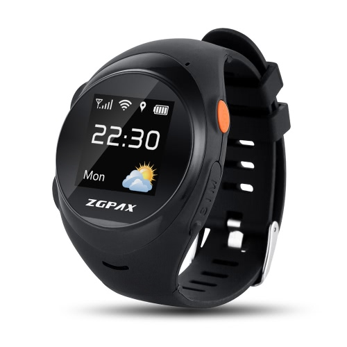 ZGPAX S888 Elder GPS Tracking Watch Phone 2G GSM Smartwatch 1.2inch 240*240pixel TPS Colorful Screen MTK6260 CPU GPS+WiFi Location Tracking Online SOS Anti-falling Remote Monitoring Voice Intercom Two Way Conversation for Android iOS Smartphones