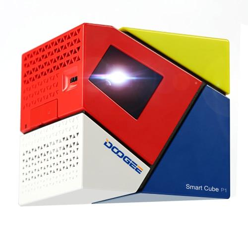 Buy DOOGEE Cube P1 Smart Mini LED Projector Andriod4.4 Amlogic Quad Core WVGA 70 lumen Contrast Ratio 800 : 1 16:9 Projection USB OTG OTA Louderspeaker Box