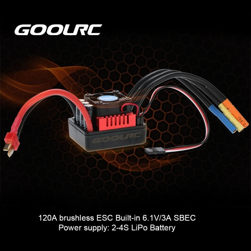 Buy GoolRC S-120A Brushless ESC Electric Speed Controller 6.1V/3A SBEC 1/8 RC Car