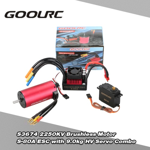 Buy GoolRC S3674 2250KV Brushless Motor S-80A ESC 9.0kg HV Servo Upgrade Combo Set 1/8 RC Car Truck