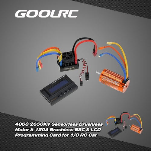 Buy GoolRC 4068 2650KV Sensorless Brushless Motor & 150A ESC 8.4V/3A Switch Mode BEC LCD Programming Card Combo Set 1/8 RC Car