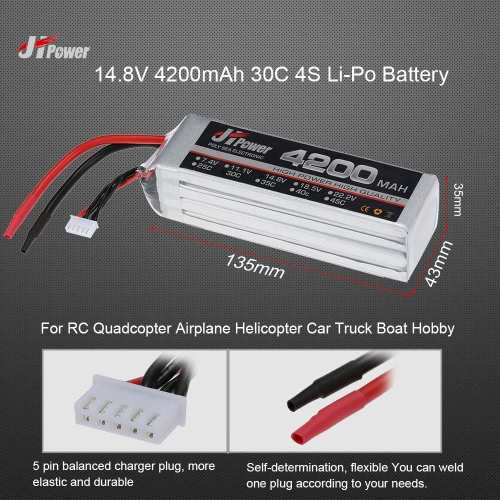 Buy JHpower 14.8V 4200mAh 30C 4S Li-Po Battery RC Drone Car Boat Truck